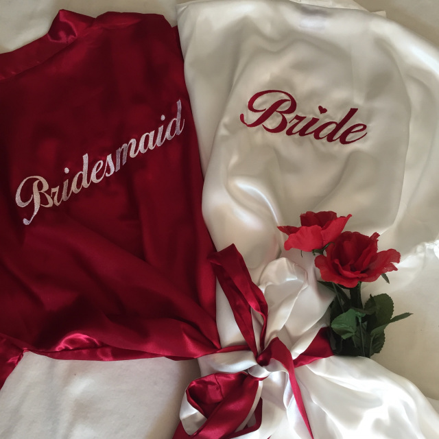 2e9d282817 These luxurious soft and silky kimono style below knee robes with  personalised embroidery are perfect for a bride and her bridal party to  wear whilst ...